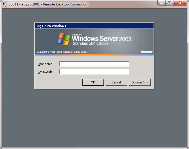Windows Server 2003 RDP Login Screen